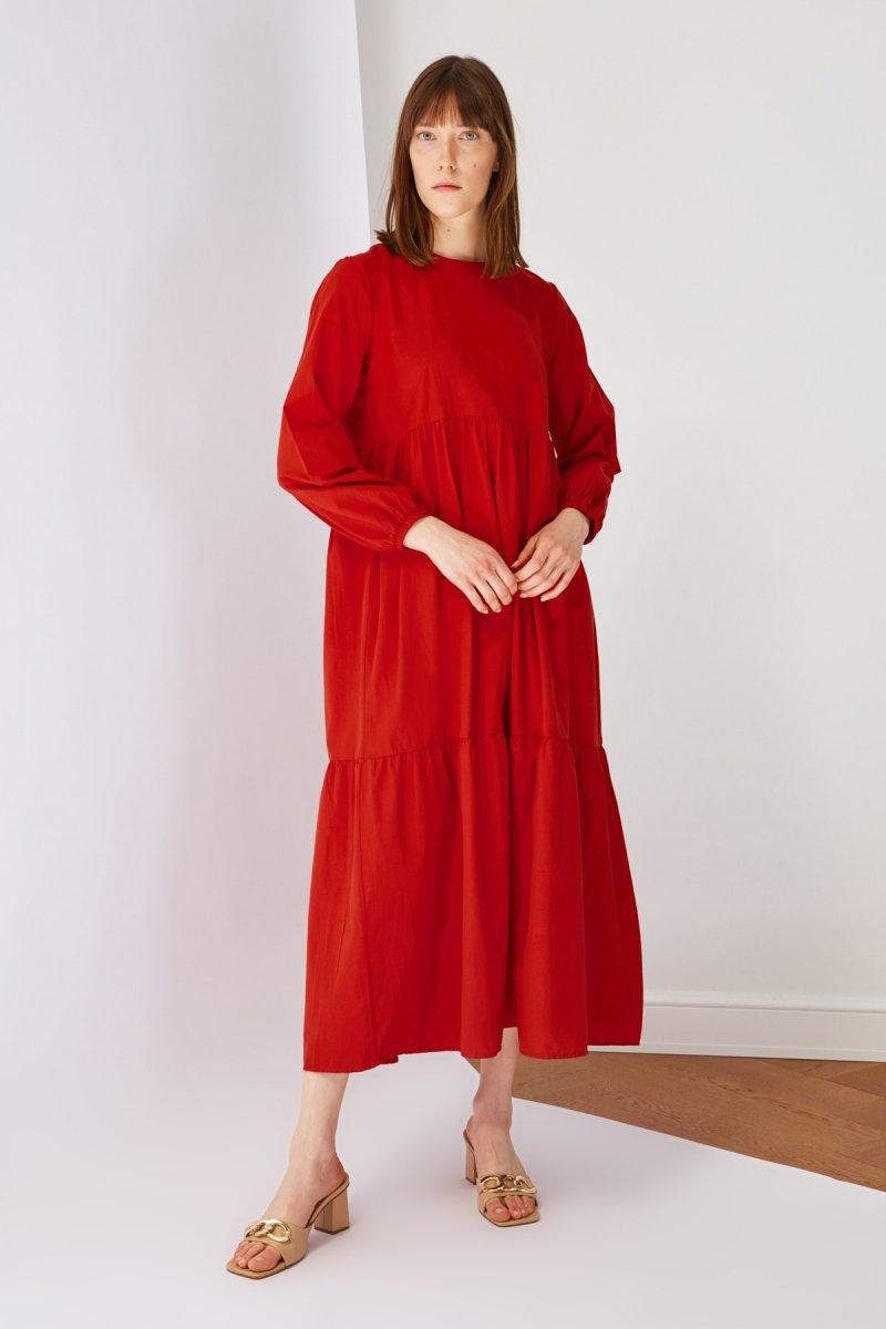 Trendyol Modest Turuncu Kiremit Poplin Elbise