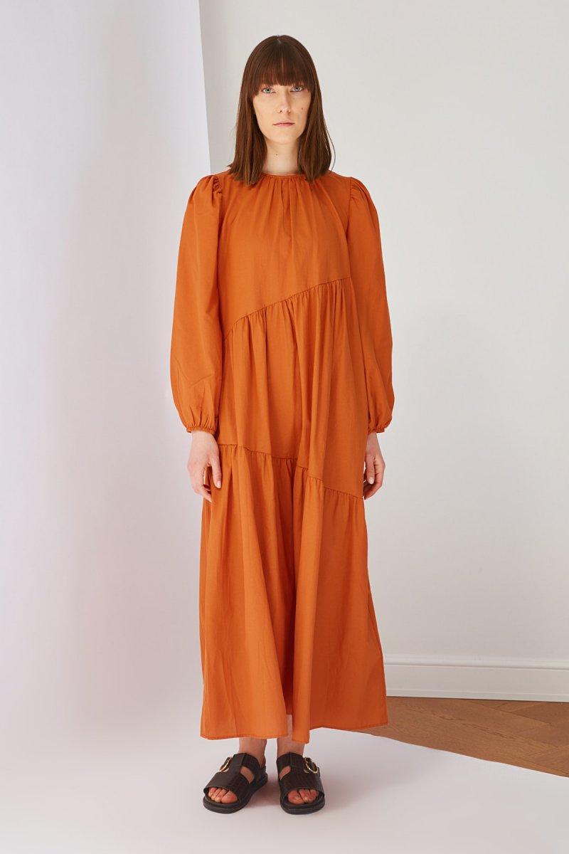 Trendyol Modest Kahverengi Tarçın Pamuk Poplin Elbise