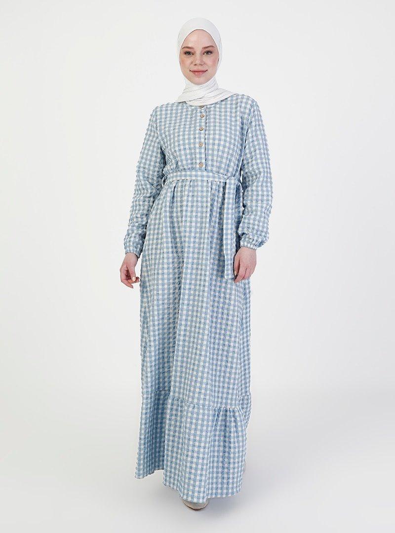 ZENANE Bebe Mavisi Kareli Elbise