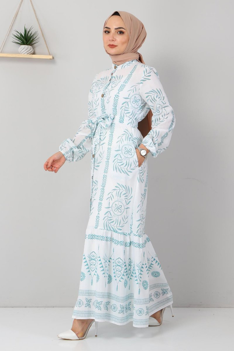 MISSVALLE Petrol Düğme Detaylı Elbise