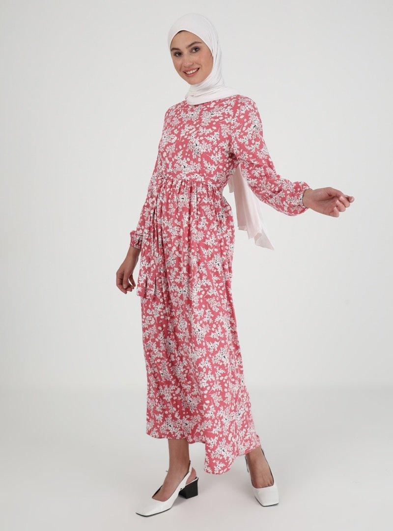 ECESUN Pudra Çiçek Desenli Elbise