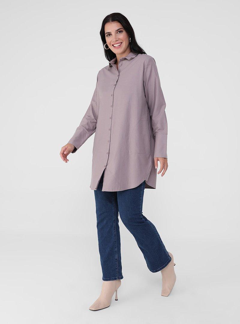 Alia Toz Lila Büyük Beden Pamuk Karışımlı Gömlek Tunik