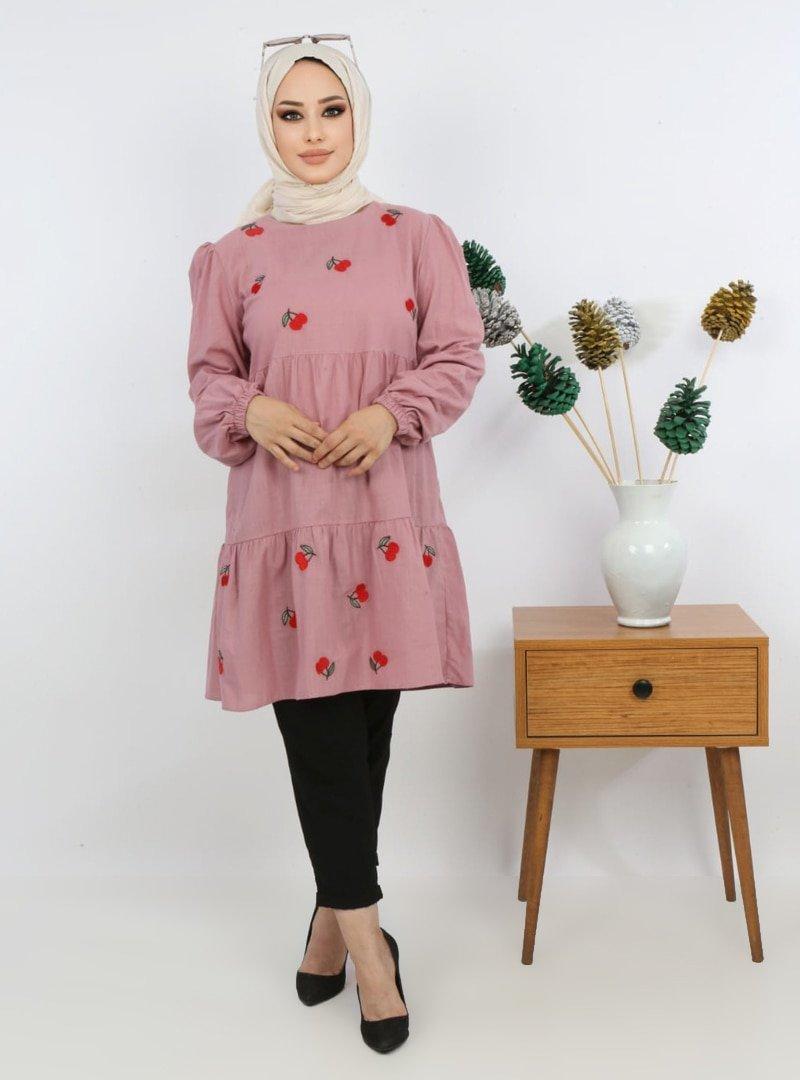 Pink Lady`s Derin Pembe Kiraz Nakışlı Katlı Tunik