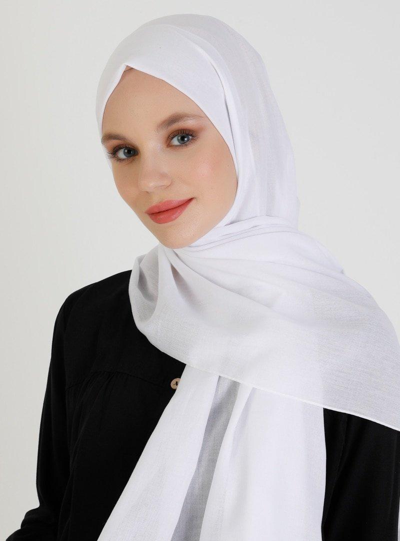 Mujerscarfs Beyaz Düz Pamuk Şal