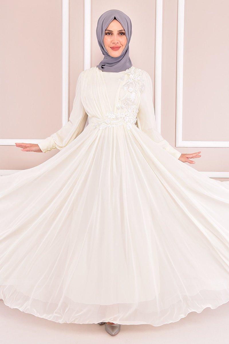 Moda Merve Ekru Güpür Detay Abiye Elbise