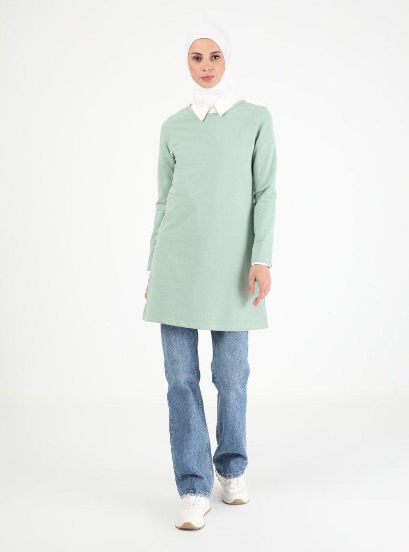 Muni Muni Mint Yeşili Uzun Kollu Tunik