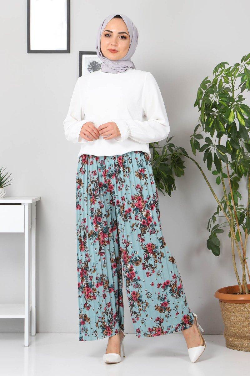 MISSVALLE Mint Çiçekli Piliseli Pantolon