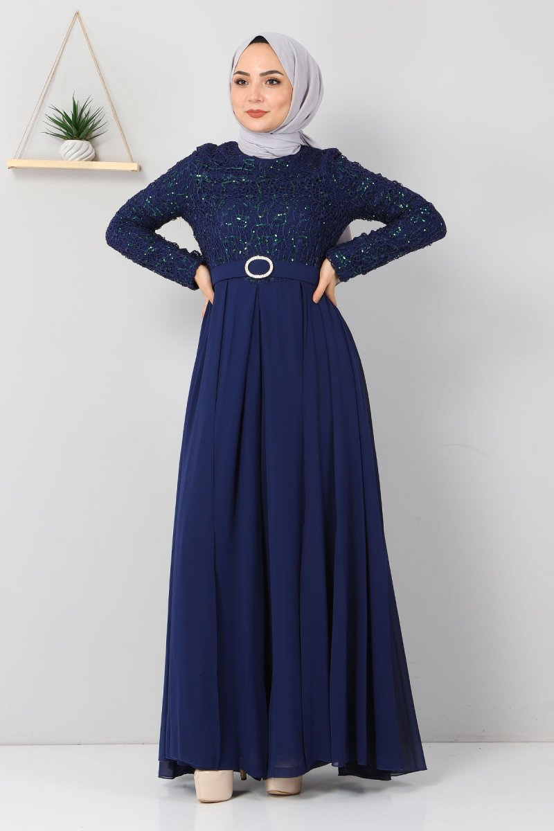 MISSVALLE İndigo Dantel Detaylı Tulum Elbise