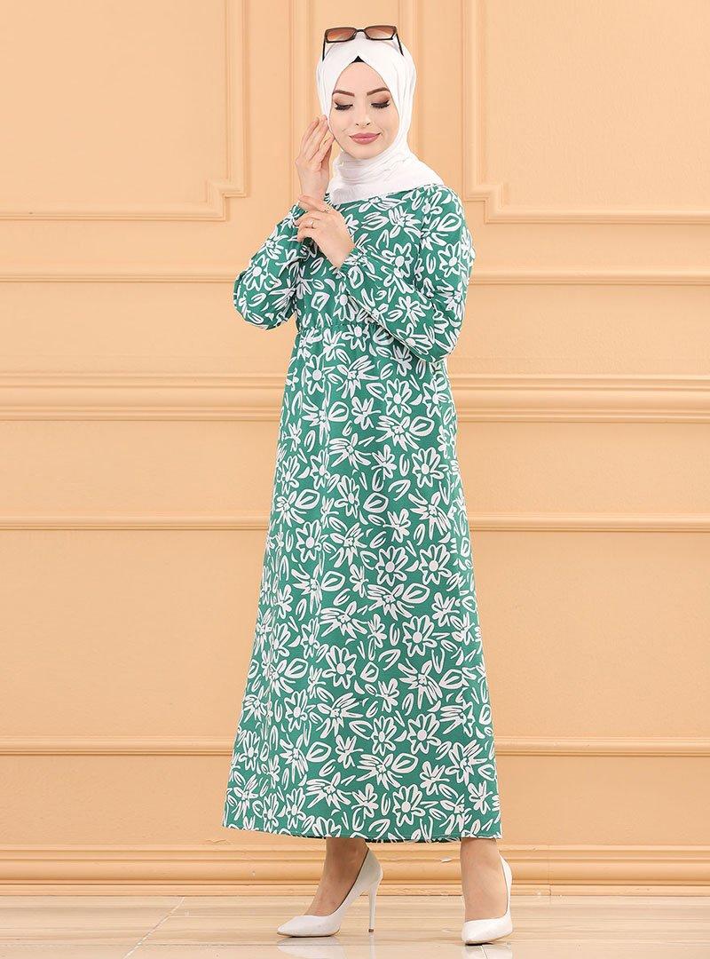 Tofisa Yeşil Desenli Elbise