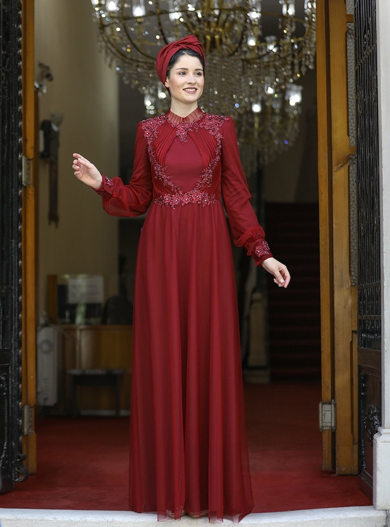 Burak Baran Fashion Bordo Su Abiye Elbise