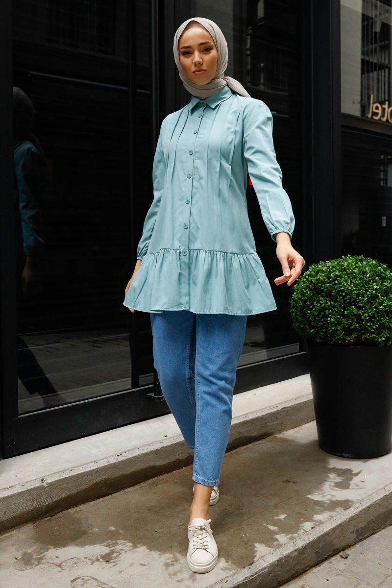 In Style Mint Robalı Fırfırlı Gömlek