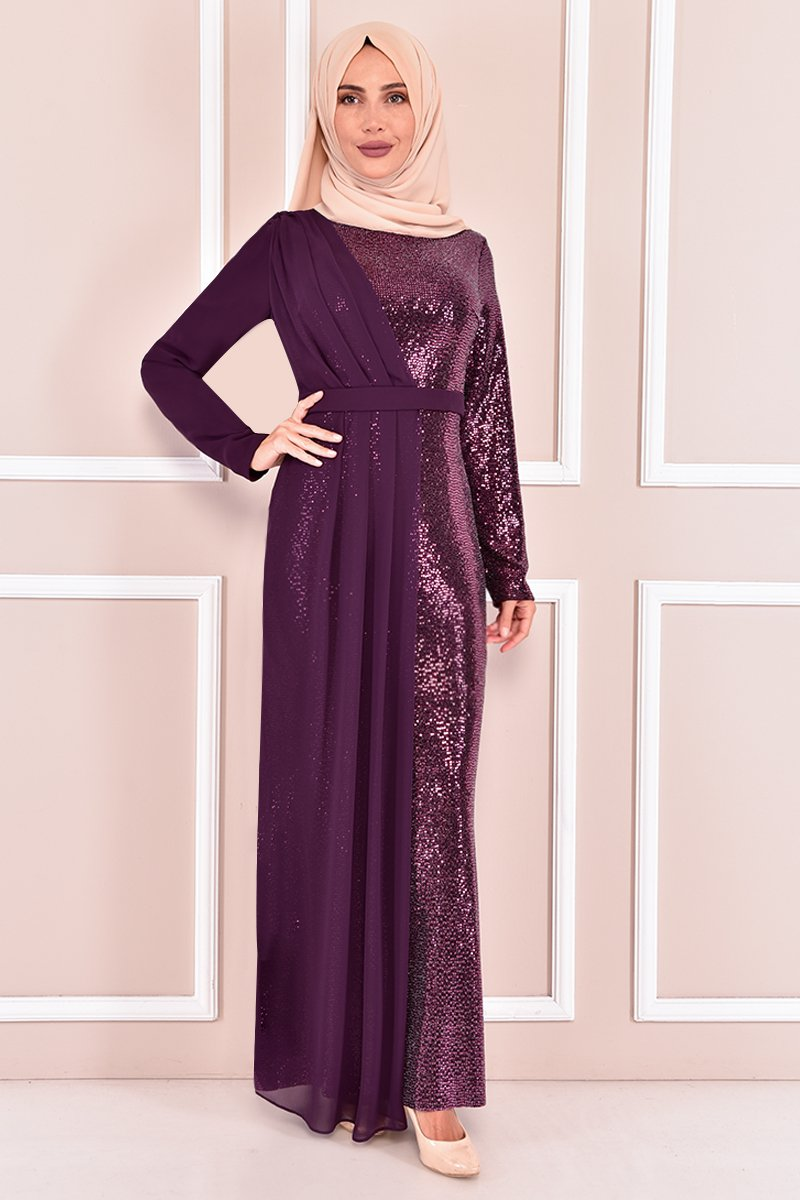 Moda Merve Mor Pul Payet Abiye Elbise