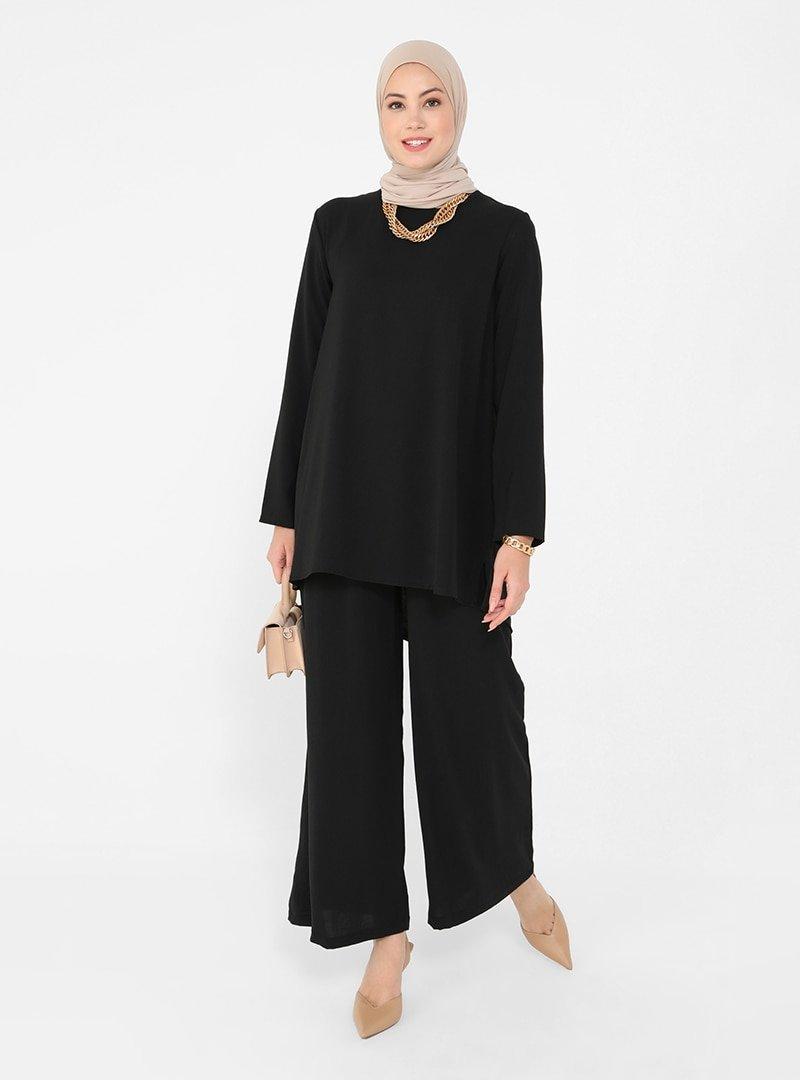 Refka Siyah Aerobin Basic Tunik & Pantolon İkili Takım