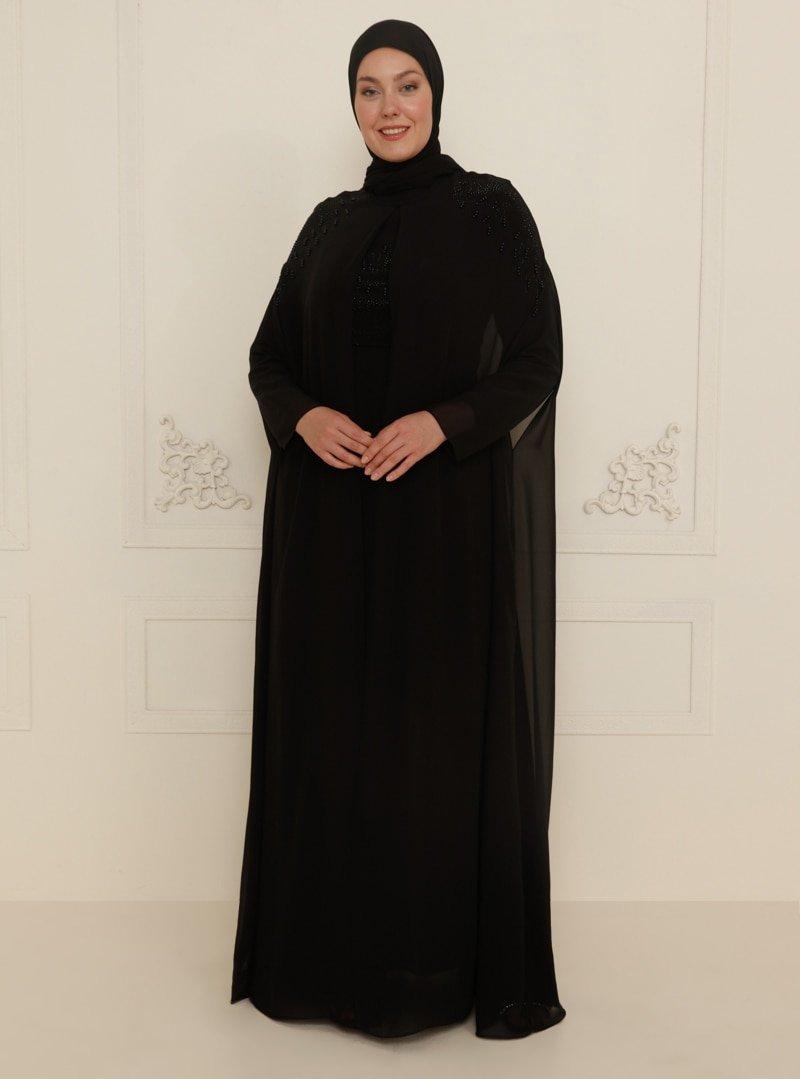 Sevdem Abiye Siyah Boncuk Detaylı Abiye Elbise
