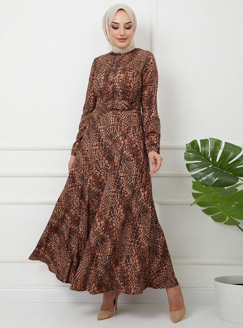 Olcay Siyah Camel Kemerli Ve Düğme Detaylı Elbise