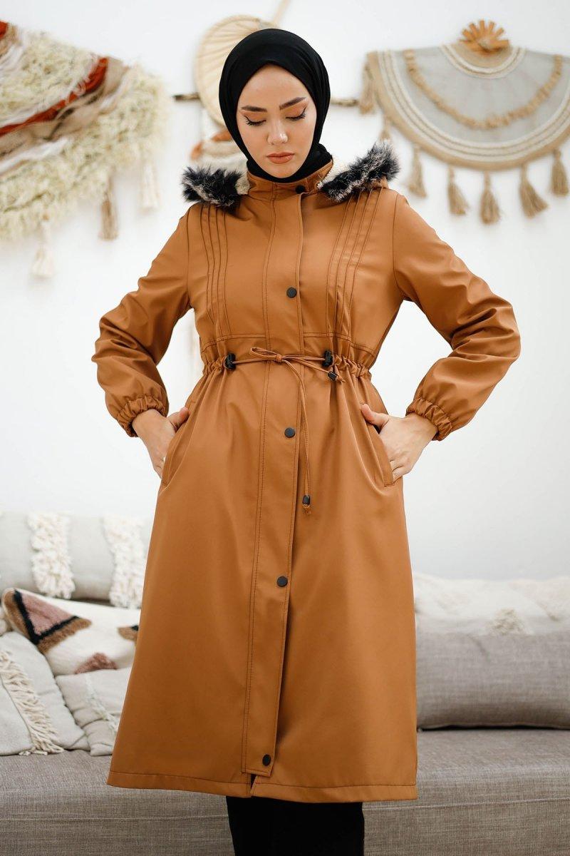 In Style Kahverengi Biye Detay Beli Büzgülü Kaban
