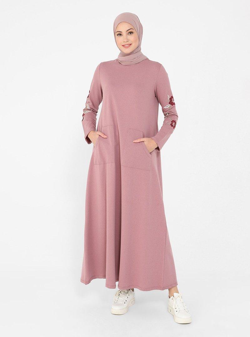 Refka Vişne Kolları Nakış Detaylı Elbise