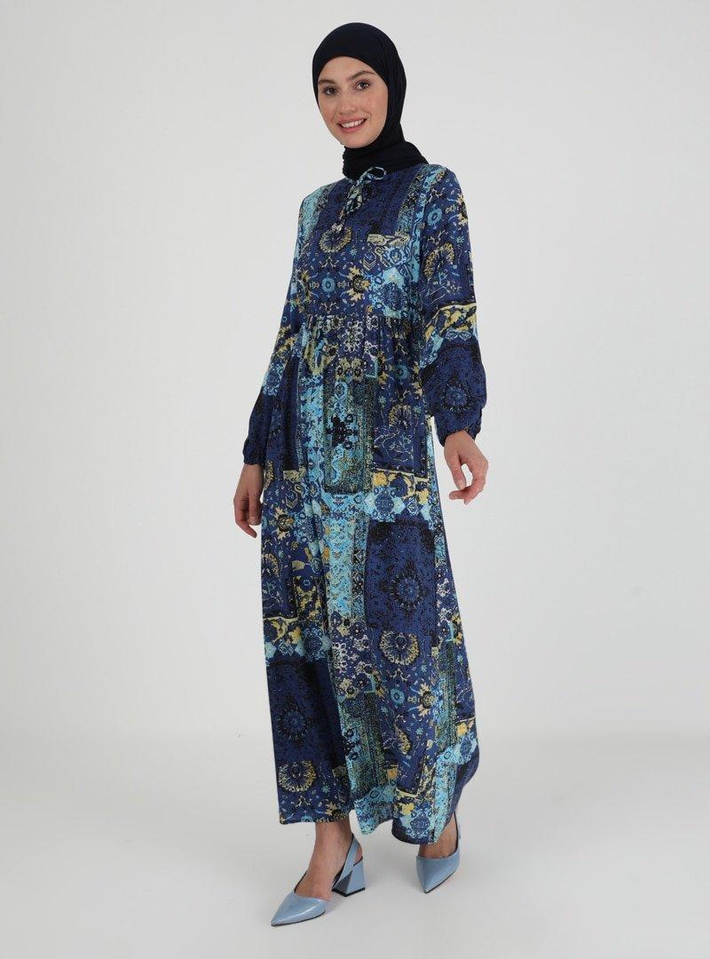 ECESUN Lacivert Desenli Beli Lastikli Elbise