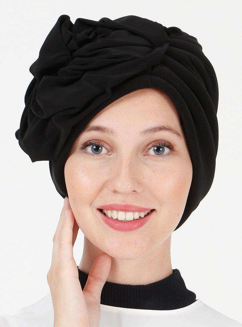 Vera Bone Siyah Çiçekli Hazır Türban
