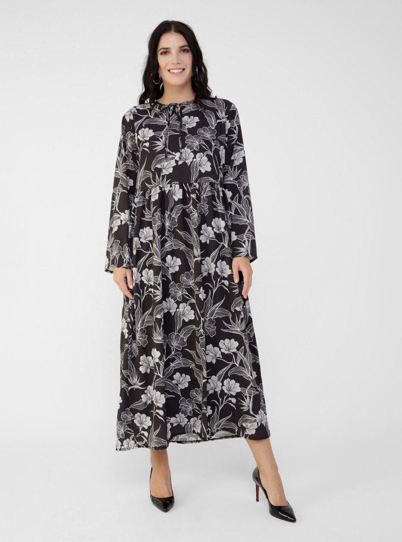 Alia Siyah Büyük Beden Çiçek Desenli Elbise
