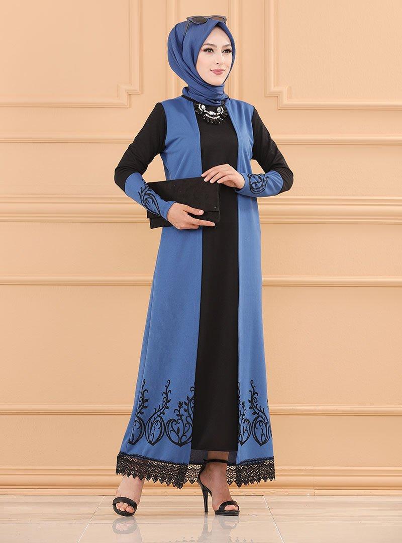 Tofisa İndigo Eteği Dantel Detaylı Elbise