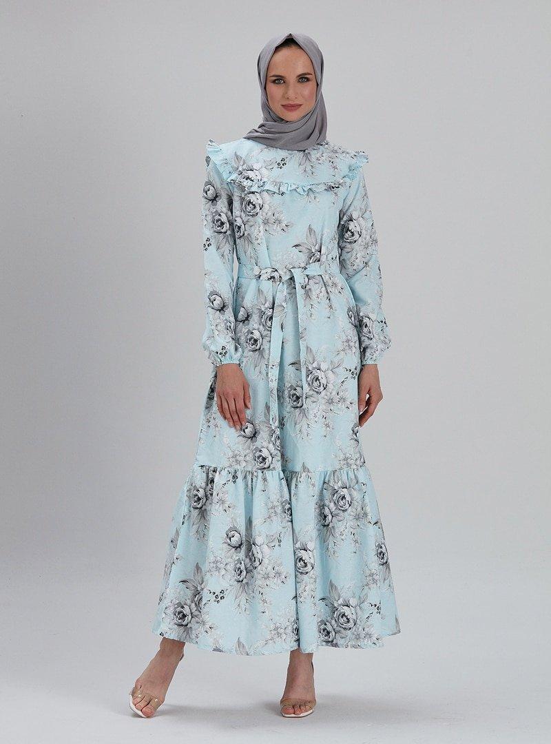 EBRAR Mavi Çiçek Desenli Elbise