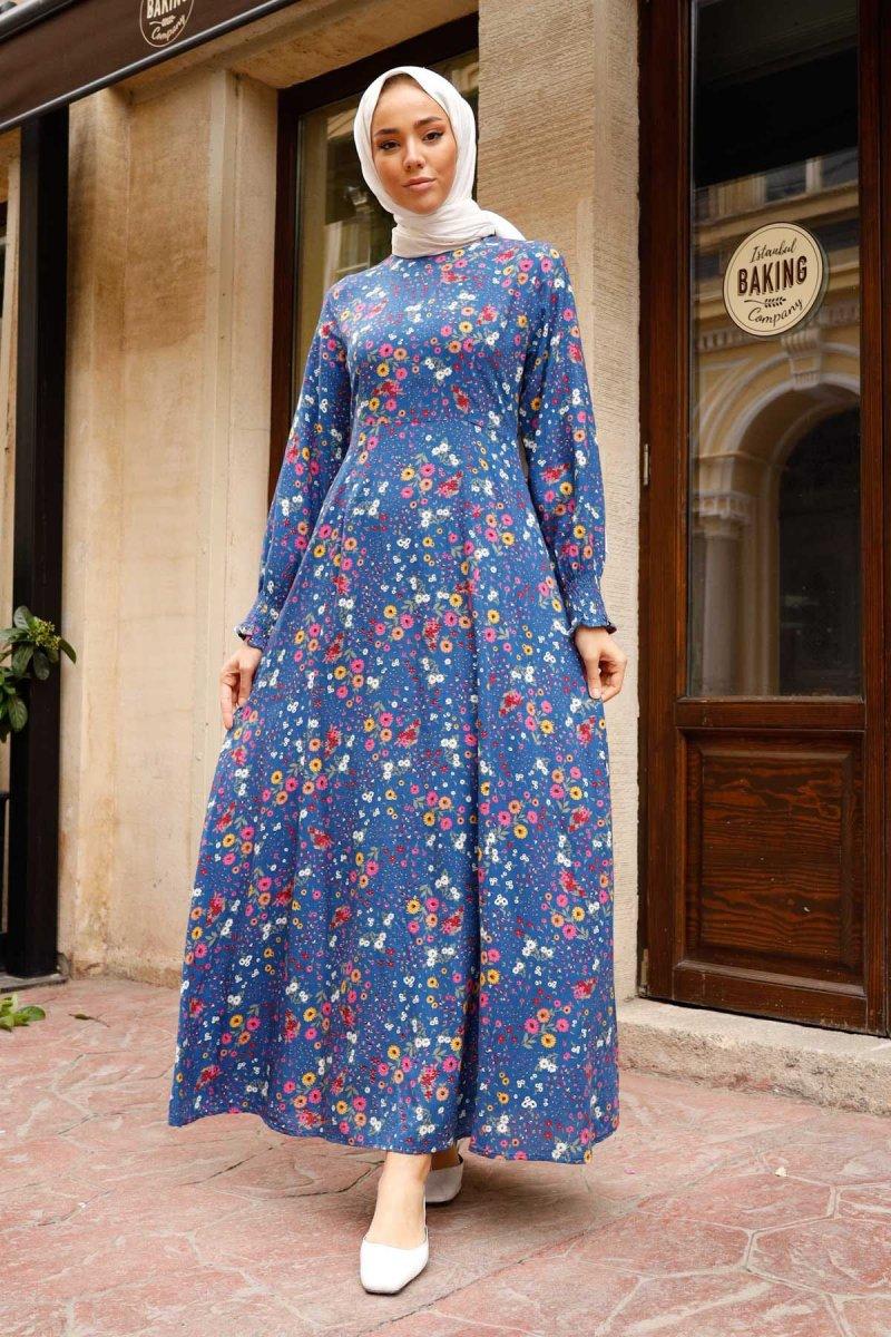 In Style İndigo Kolu Büzgülü Kasımpatı Desen Elbise