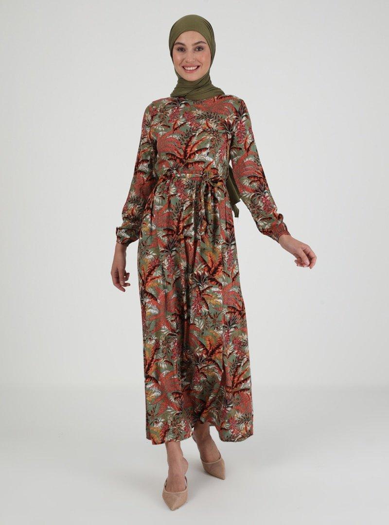 ECESUN Haki Çiçek Desenli Elbise
