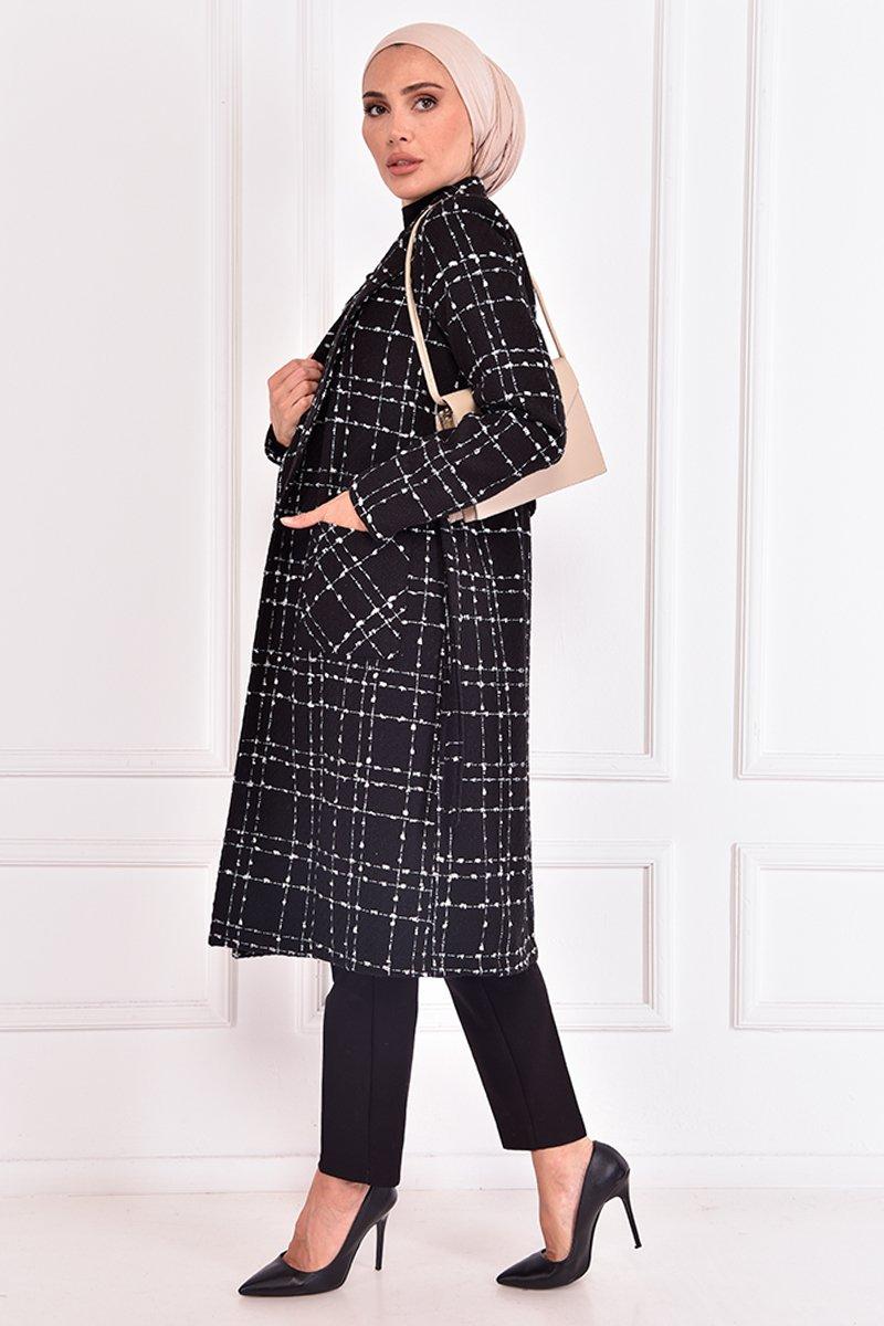Moda Merve Siyah Kuşaklı Kaban