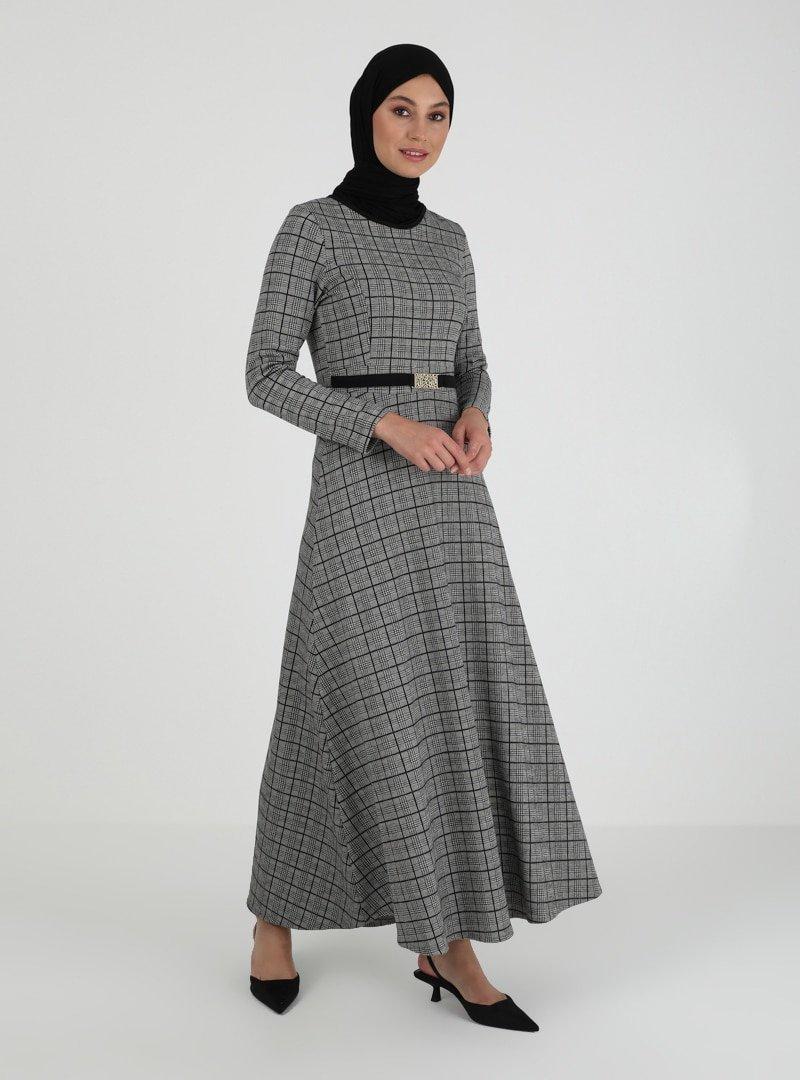 ZENANE Antrasit Desenli Elbise