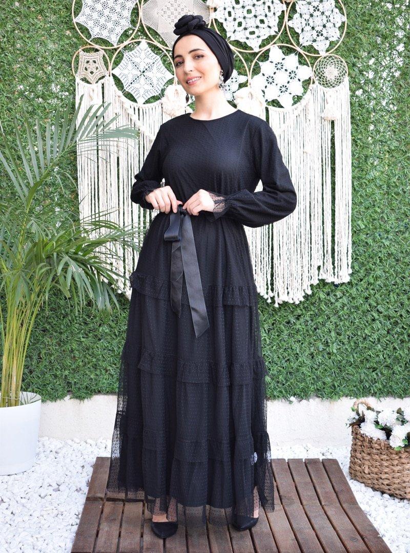 MAS&DESİGN Siyah Fırfırlı Saten Kemerli Abiye Elbise