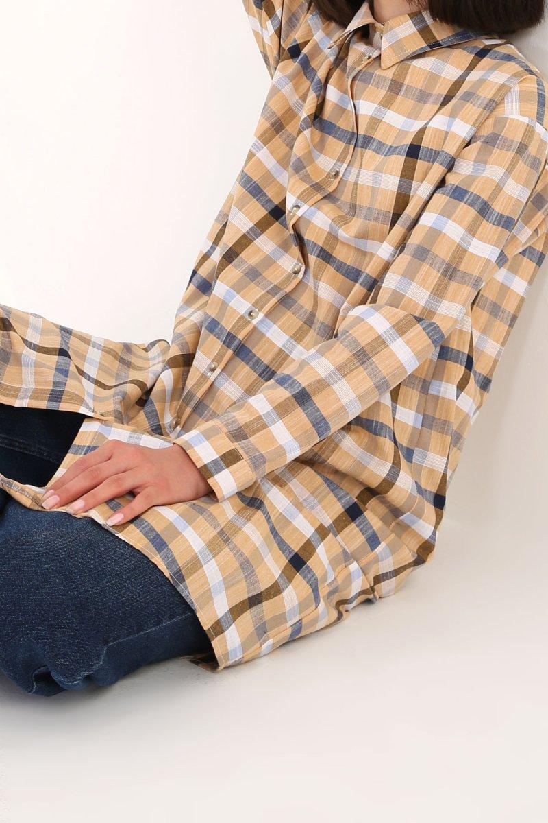 Allday İndigo Sarı Pamuklu Ekose Gömlek Tunik