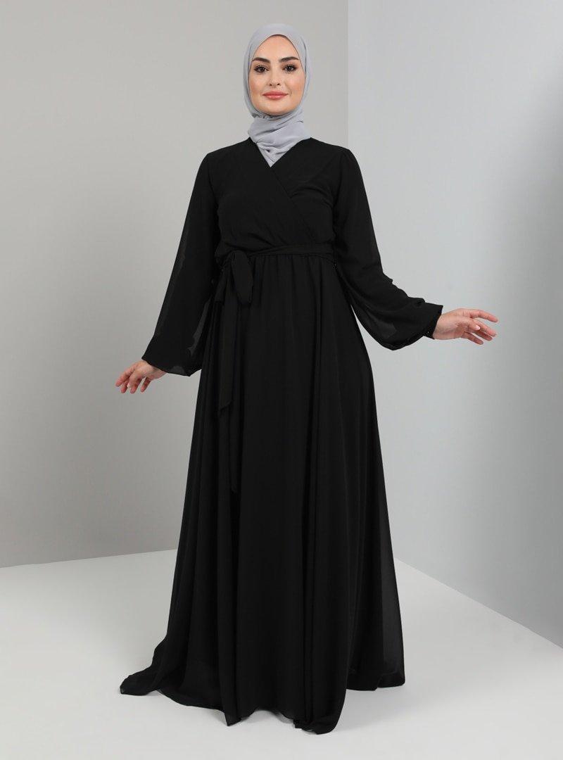Tavin Siyah Dantel Detaylı Abiye Elbise