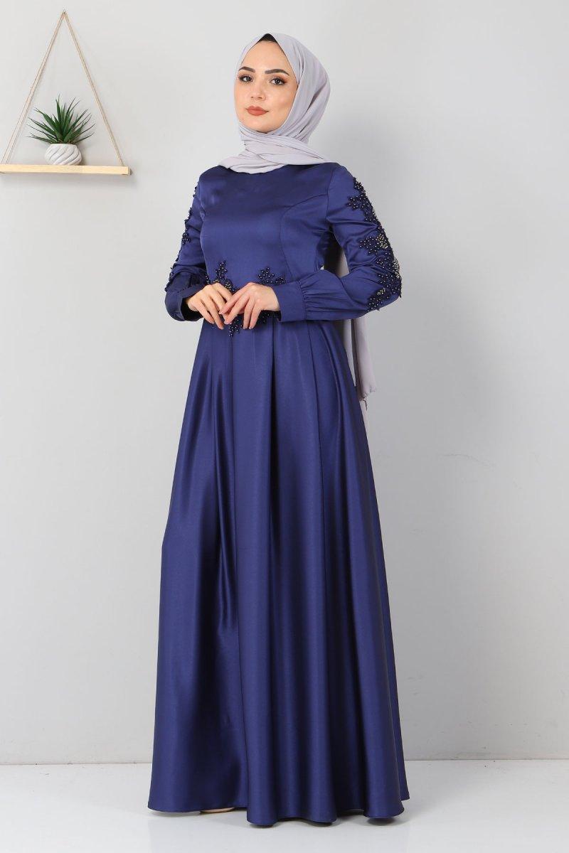 MISSVALLE İndigo Aplike Dantelli Elbise