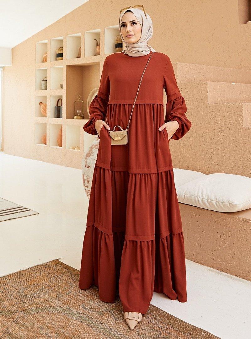 Neways Kiremit Cep Detaylı Elbise