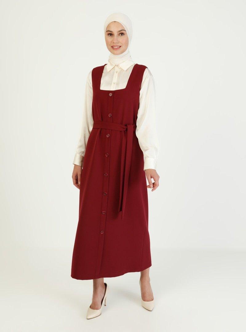 İnşirah Bordo Kuşak Detaylı Kolsuz Elbise
