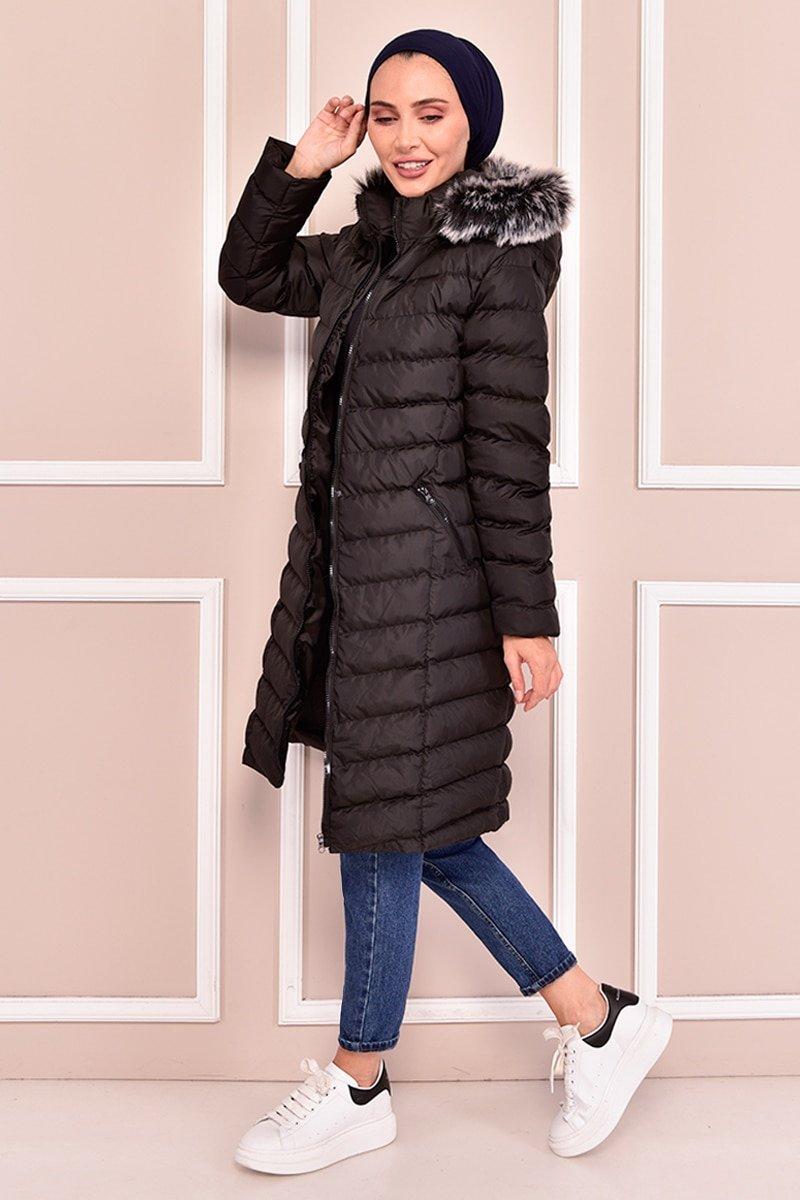 Moda Merve Siyah Kapüşonlu Şişme Mont