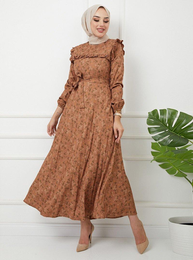 Olcay Camel Robave Kolu Fırfır Detaylı Çiçekli Elbise