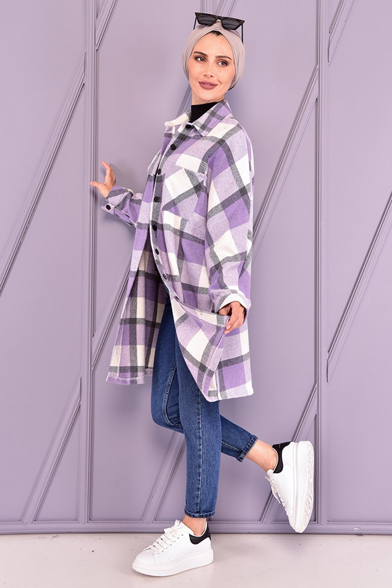 Moda Merve Lila Oduncu Gömlek