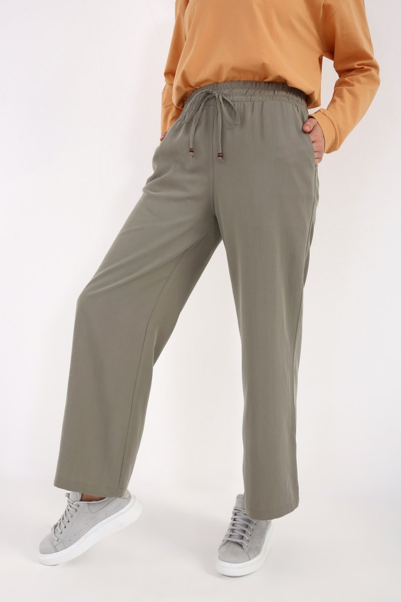 Allday Yeşil Bel Lastikli Bol Paça Pantolon