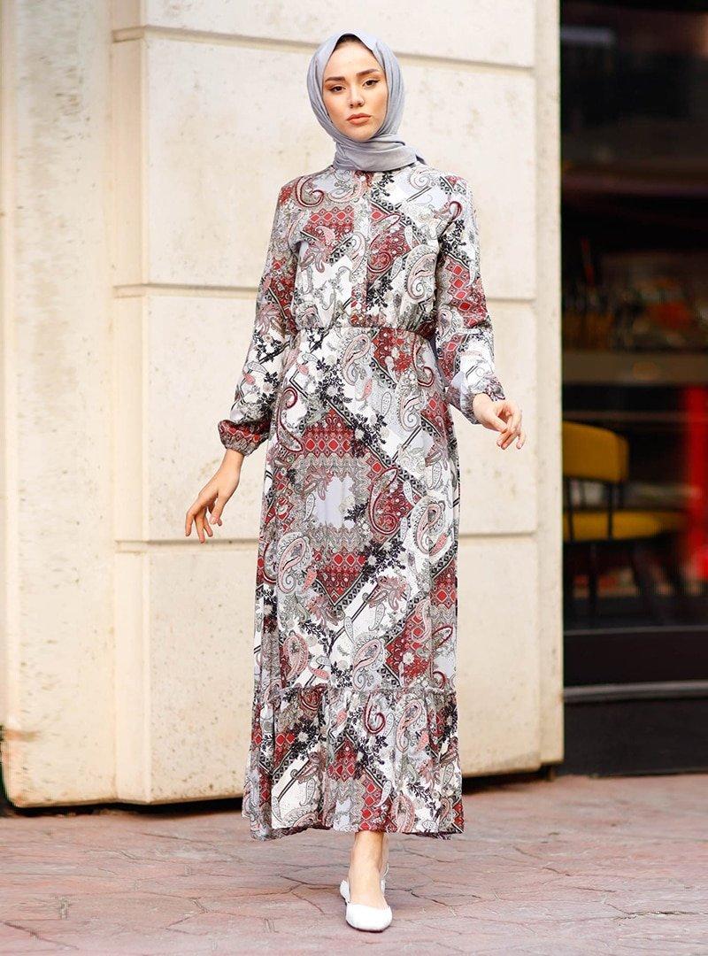 In Style Ekru Renkli Şal Desen Elbise