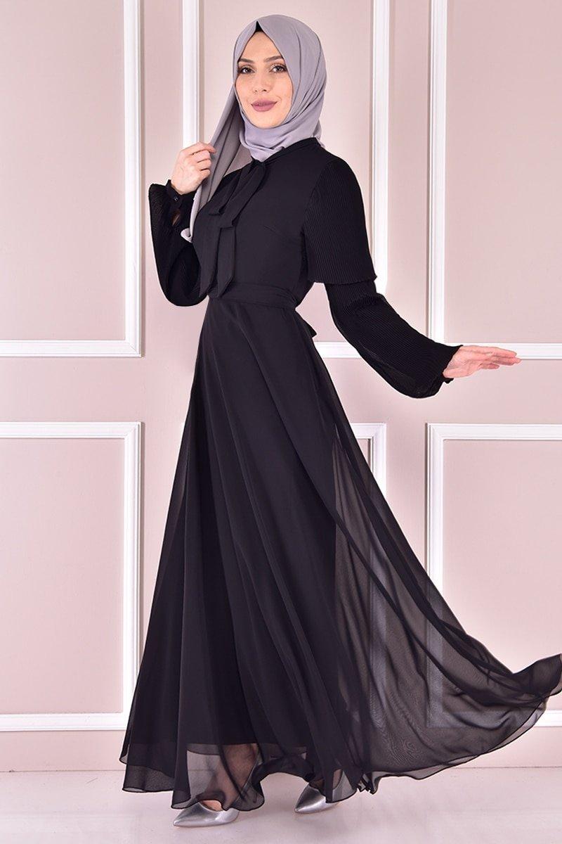 Moda Merve Siyah Şifon Elbise