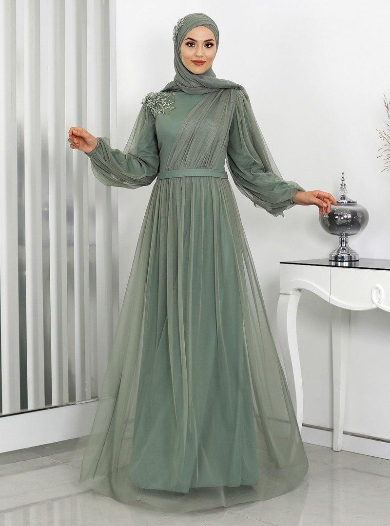 Rana Zenn Mint Yeşili Derin Abiye Elbise