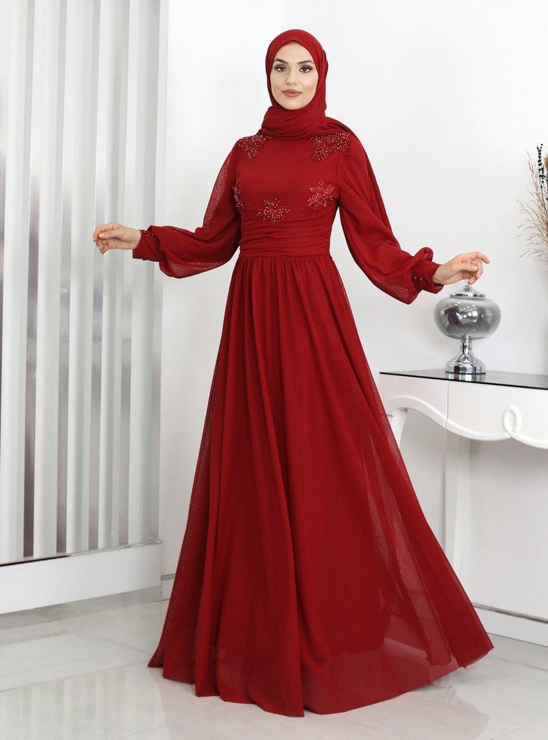 Rana Zenn Bordo Tülin Tül Abiye Elbise