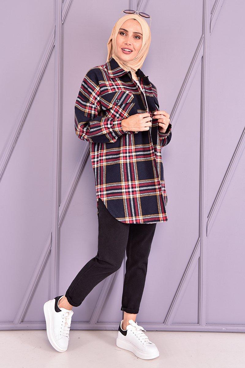Moda Merve Lacivert Oduncu Gömlek
