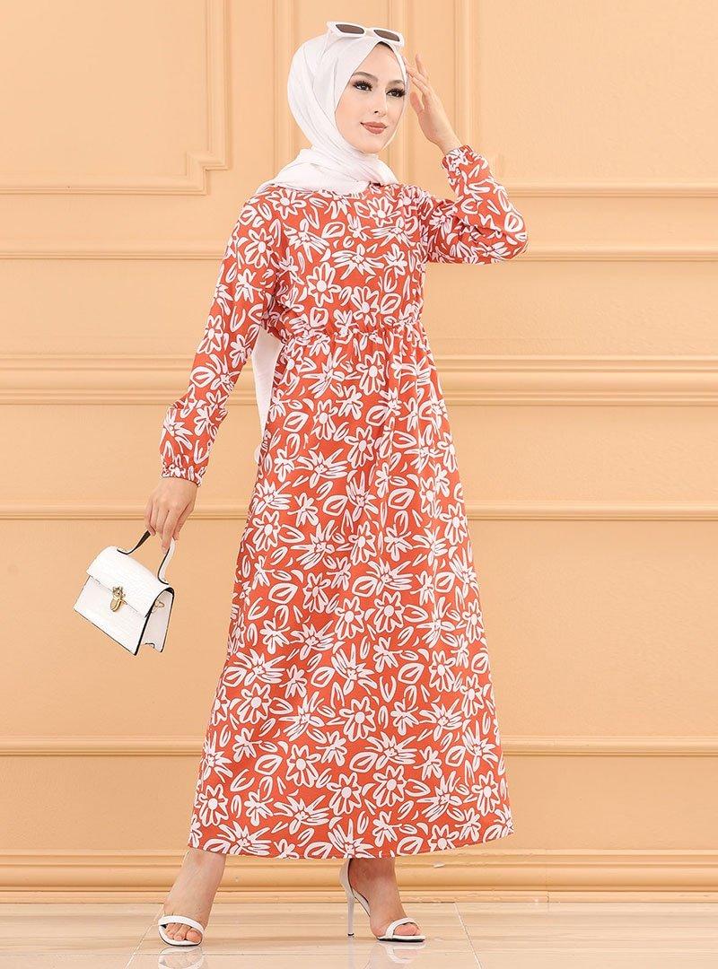 Tofisa Kiremit Desenli Elbise