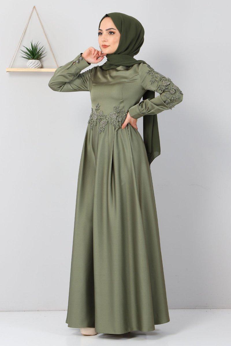MISSVALLE Haki Aplike Dantelli Elbise
