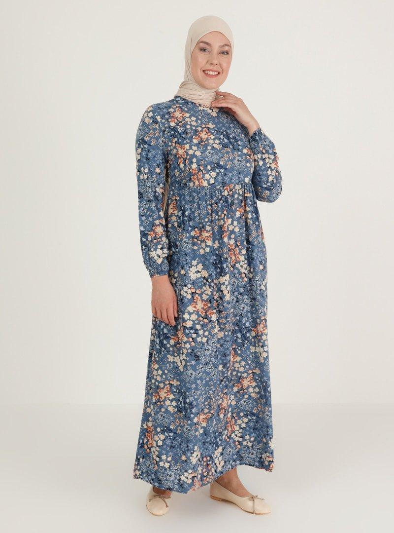 ECESUN Mavi Desenli Elbise