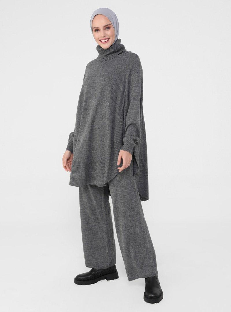 Refka Antrasit Rahat Kesim Tunik & Pantolon İkili Triko Takım