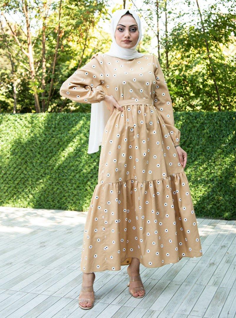 Sevit-Li Bej Çiçek Desenli Elbise